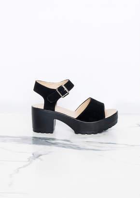 5c2dee52bacf Missy Empire Missyempire Millie Black Suede Cleated Wedge Sandals