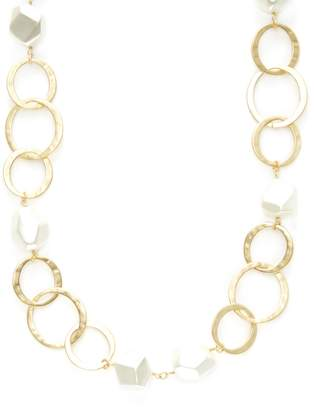 Kenneth Jay Lane Women's Circles Link & Pearl Station Necklace