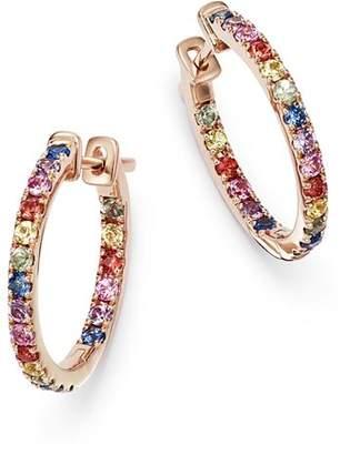 Bloomingdale's Multicolored Sapphire Inside Out Hoop Earrings in 14K Rose Gold - 100% Exclusive