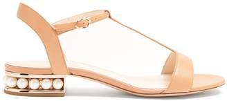 Nicholas Kirkwood Casati T-bar pearl-heeled leather sandals