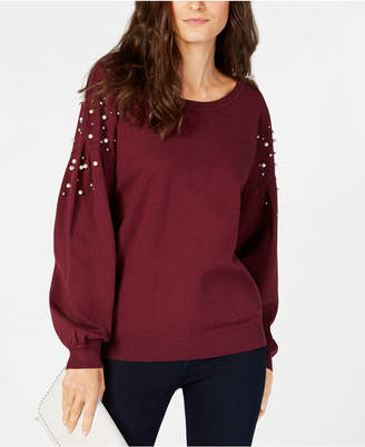 INC International Concepts I.n.c. Petite Embellished Balloon-Sleeve Sweater