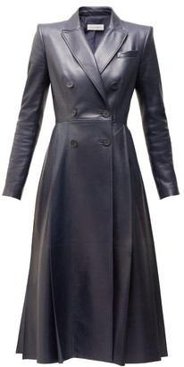 Alexander McQueen Double Breasted Pleated Leather Coat - Womens - Navy