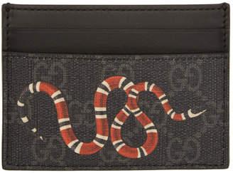 Gucci Black and Grey GG Supreme Snake Card Holder