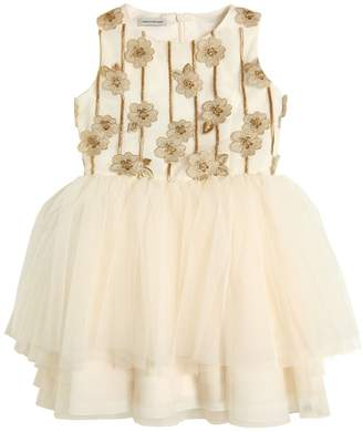 Embroidered Stretch Tulle Party Dress