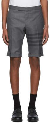 Thom Browne Grey 4-Bar Side-Tab Shorts