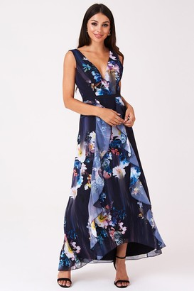 a2bfebc163 Little Mistress Viola Floral Plunge Maxi Dress