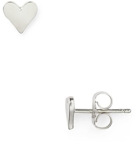 Dogeared Sterling Silver Flat Heart Stud Earrings