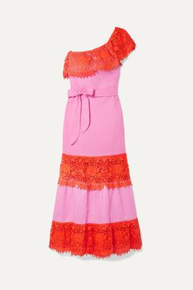 Miguelina Rezina One-shoulder Cotton Guipure Lace-trimmed Linen Maxi Dress - Pink