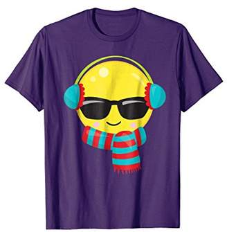 Funny Emoticon wearing Sunglasses Earmuffs and Scarf T-Shirt