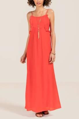 Nelle Mock Tie Waist Maxi Dress - Red