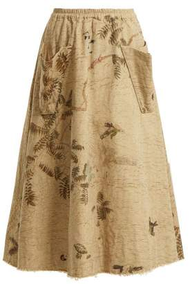 BEIGE By Walid - Hazy Jungle Print Cotton Canvas Skirt - Womens Print