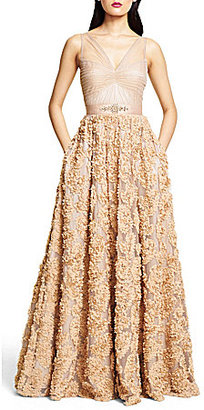 Adrianna Papell Tulle Rosette Gown $280 thestylecure.com
