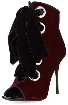 Giuseppe Zanotti Velvet Lace-Up Peep-Toe 105mm Booties
