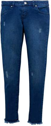 Very Girls Blue Rip Hem Straight Jeans