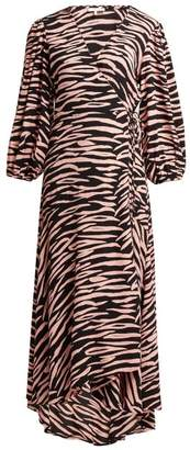 Ganni Lindale Tiger Print Wrap Dress - Womens - Black Multi