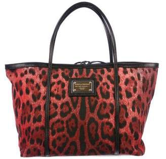 Dolce & Gabbana Leather-Trimmed Printed Tote