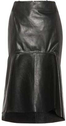 Balenciaga High-rise leather godet skirt