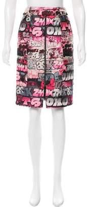 Giamba Metallic-Accented Graffiti Skirt w/ Tags