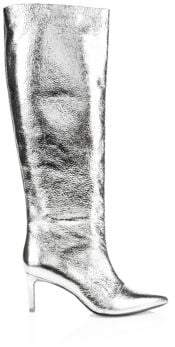 Rag & Bone Rag& Bone Rag& Bone Women's Beha Knee-High Leather Boots - Silver - Size 38.5 (8.5)