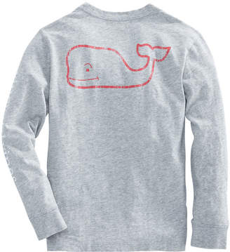 Vineyard Vines Boys Long-Sleeve Two Tone Vintage Whale Pocket T-Shirt
