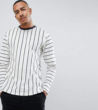 Jacamo Long Sleeve Top In Vertical Stripe