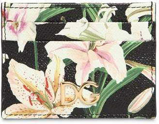 Dolce & Gabbana Lily Print Leather Card Holder