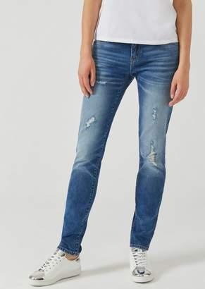Emporio Armani J06 Skinny Jeans In Medium Denim With Tears