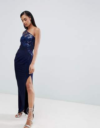 Lipsy one shoulder sequin lace maxi dress