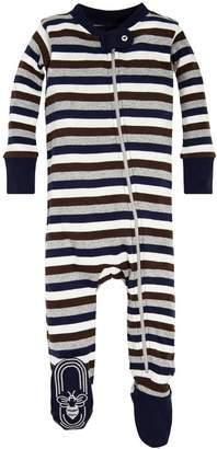 Burt's Bees Multi Stripe Organic Baby Zip Up Footed Pajamas