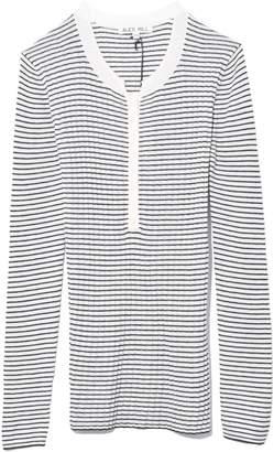 Alex Mill Multi Rib Wool Silk Stripe Henley in Ivory/Black