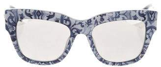 Dolce & Gabbana Floral Print Mirrored Sunglasses
