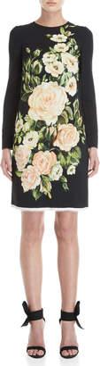 Dolce & Gabbana Long Sleeve Floral Shift Dress