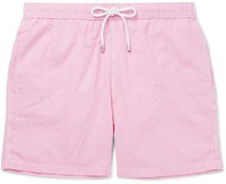 Hartford Mid-Length Striped Seersucker Swim Shorts