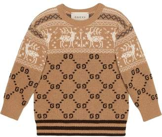 Gucci Kids Children's GG reindeers wool sweater