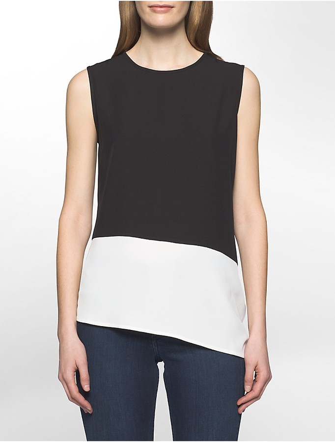Calvin Klein Colorblock Angled Sleeveless Top