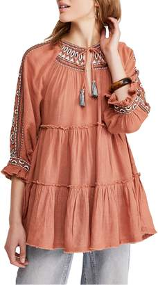Free People Dream Weaver V-Neck Embroidered Tunic