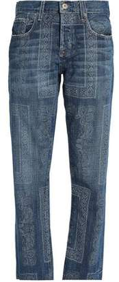 Current/Elliott Printed Mid-Rise Straight-Leg Jeans