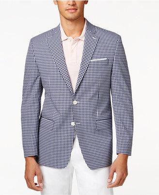 Lauren Ralph Lauren Blue & White Gingham Classic-Fit Sport Coat $295 thestylecure.com