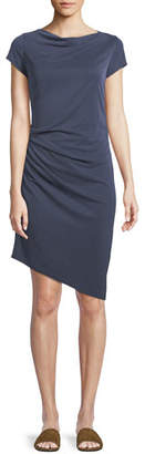 Halston Draped Boat-Neck Jersey Dress