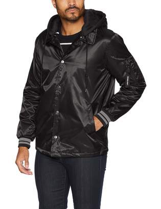 Members Only Men's Coach Jacket with Detachable Hood