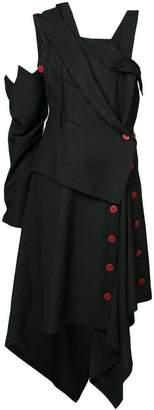 Yohji Yamamoto asymmetric zig-zag hem dress