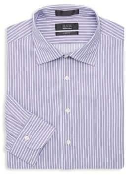Saks Fifth Avenue BLACK Slim-Fit Striped Dress Shirt