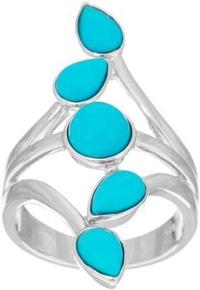 Multi-Cut Sleeping Beauty Turquoise Sterling Elongated Ring