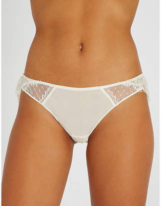 Lejaby Maison Oui silk and Leavers lace bikini briefs