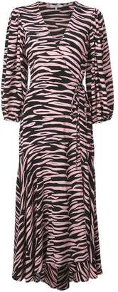 Ganni zebra print wrap dress