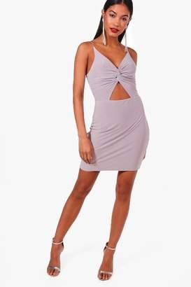 boohoo Lottie Slinky Knot Front Micro Mini Bodycon Dress