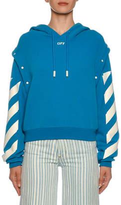 Off-White Diagonal-Striped Sleeve Sweatshirt