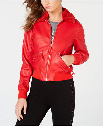 GUESS Tani Faux-Leather Bomber Jacket