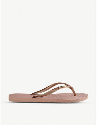 Havaianas Metallic strap slim rubber flip-flops