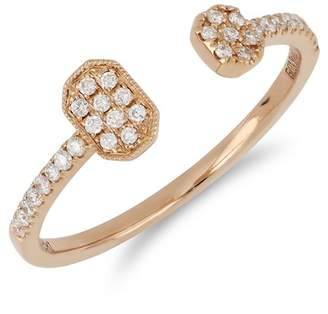 Bony Levy 18K Rose Gold Pave Diamond Geometric Open Cuff Ring